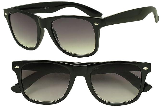 Sunglass Stop - Vintage Round Unisex Rx Optical Wayfarer Reading Sun Readers Glasses Strength +1.00 Thru +3.50 (Black, 1.25 x)