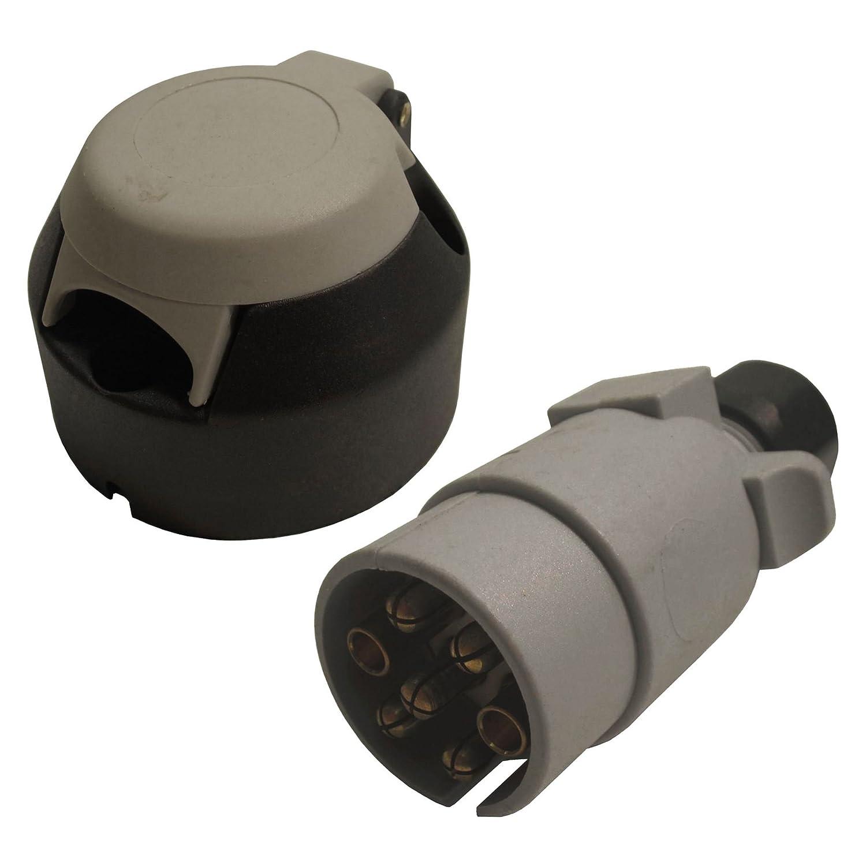 AB Tools-Maypole Barre de remorquage l/électrique 7 Broches Type S Gris en Plastique /& Prise connecteur pour caravanes Hook Up