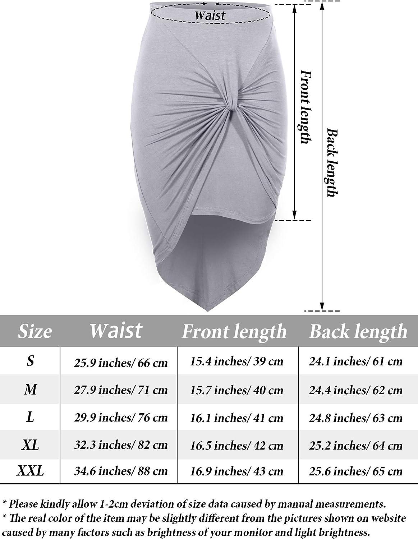 Women Drape Wrap Bodycon High Low Midi Pencil Skirt with Jersey Knit Asymmetrical Hem