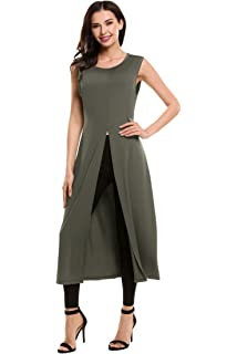 7cc217a72c9 HOTOUCH Women's Maxi Tunic Shirt Tops Casual Sleeveless Long Maxi Dresses  with High Front Split