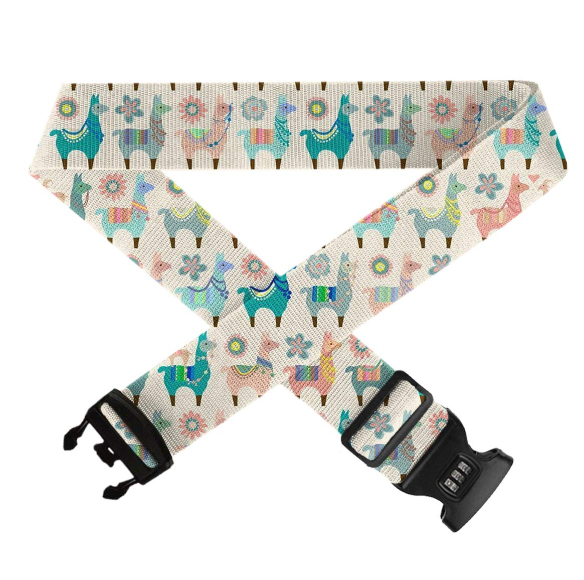 GLORY ART 1 Pack Colorful Llama Fun Travel Suitcase Belt Heavy Duty Quick Connect Buckle Luggage Strap TSA Approved Lock Travel Accessories
