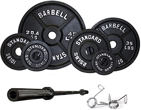 USA Sports Olympic Black Weight Set Black Bar - 300 Pounds