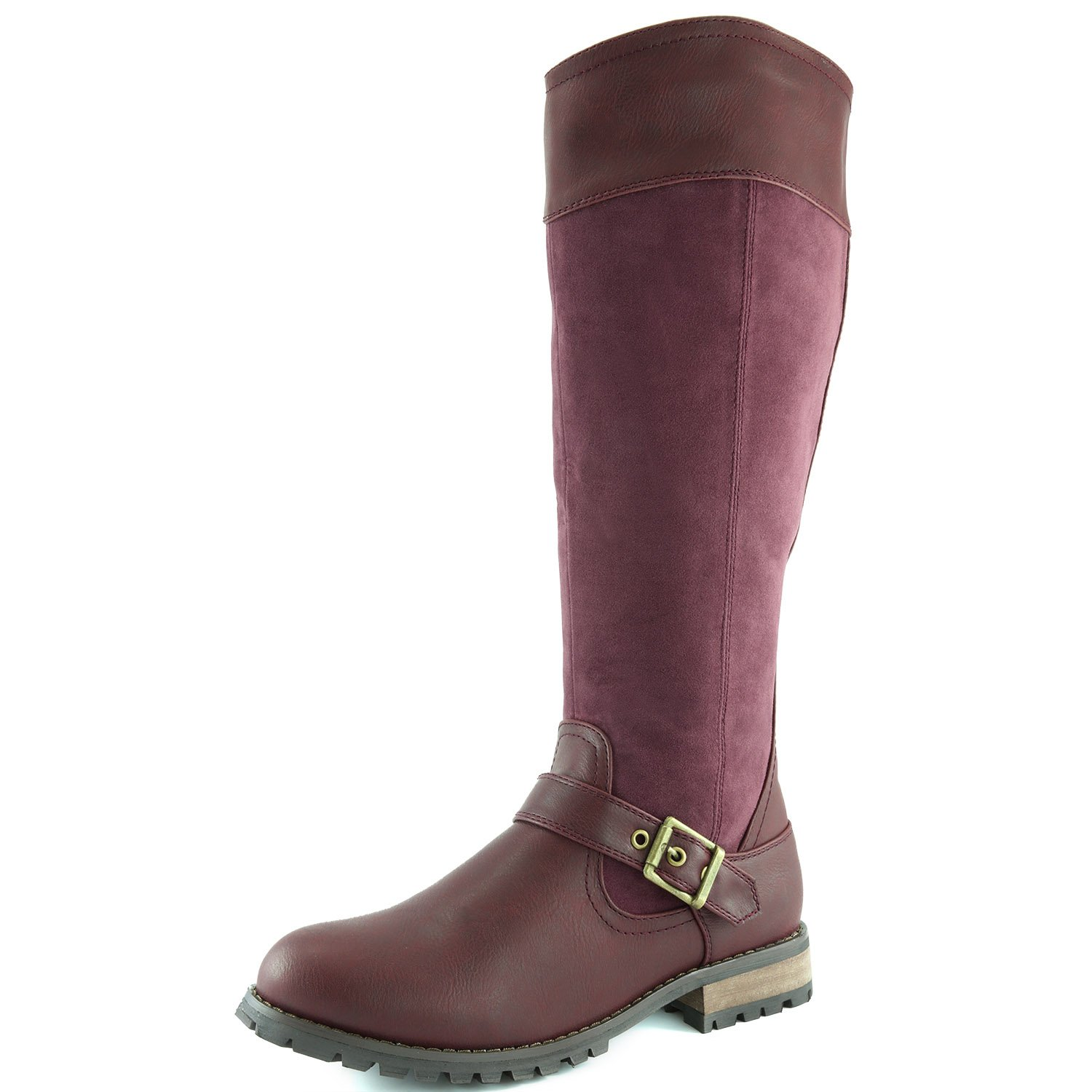 DailyShoes Women's Modern Mid-Calf Combat Boot Riding Booties Mid Calf High Tube Knee-high Low Heel Buckle Short Boots Fashion Toe Casual Soft Sole Winter Warm for Women Combat-19 Wine Sv 13 by DailyShoes