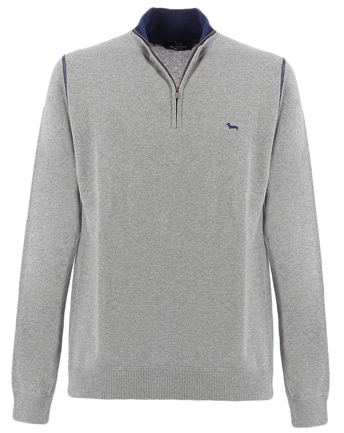 Harmont /& Blaine Gray Half-Zip Sweater