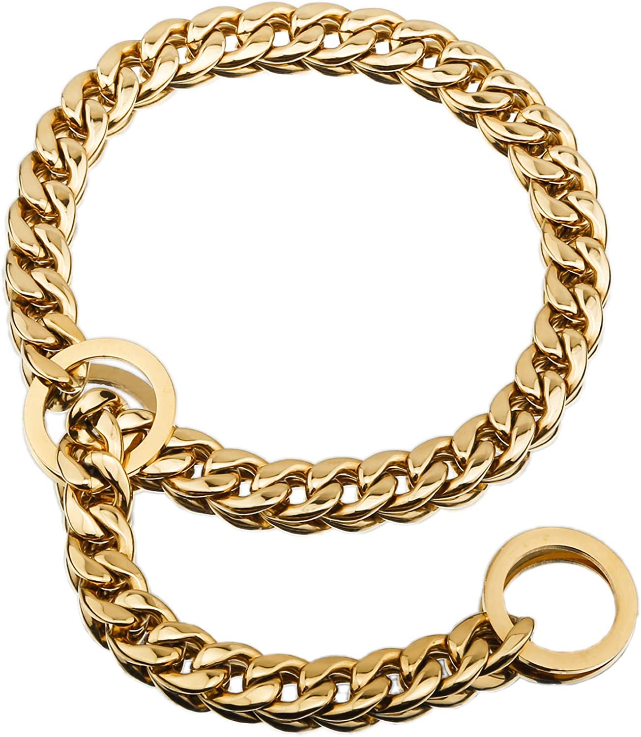 ebChains Hefty Thick Gold/Silver Dog Chain Collar, 12/15mm Width 12-26