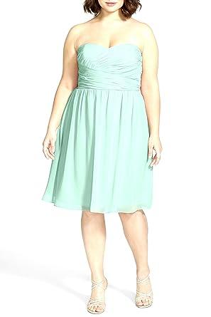 Donna Morgan\'Sarah\' Strapless Ruched Chiffon Dress Mint (Plus Size ...