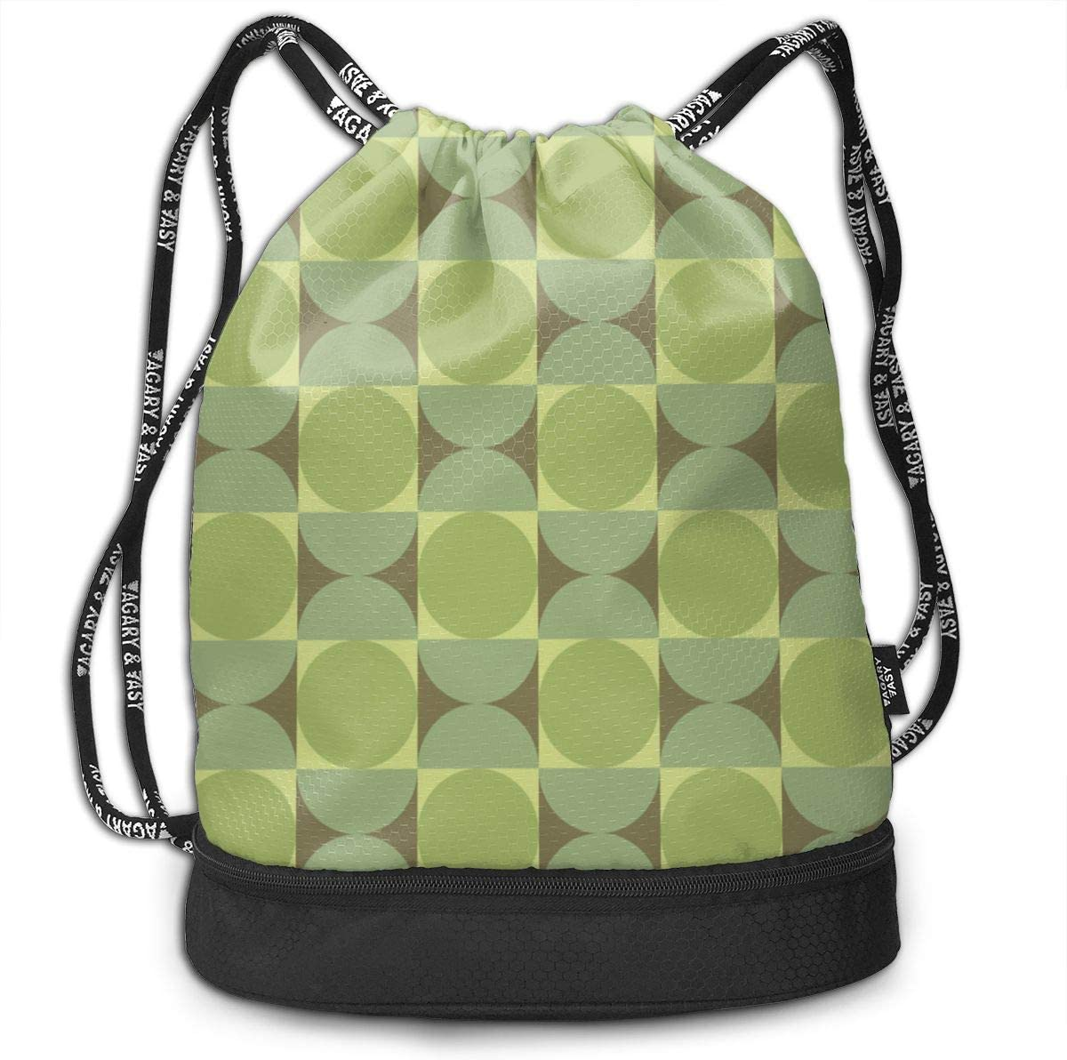 Retro Petite Reverb Tambourine Green Drawstring Backpack Sports Athletic Gym Cinch Sack String Storage Bags for Hiking Travel Beach