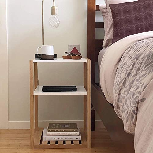 STNDRD. Modern Nightstand: Sustainable Bamboo and White Bedside Table Set of 2