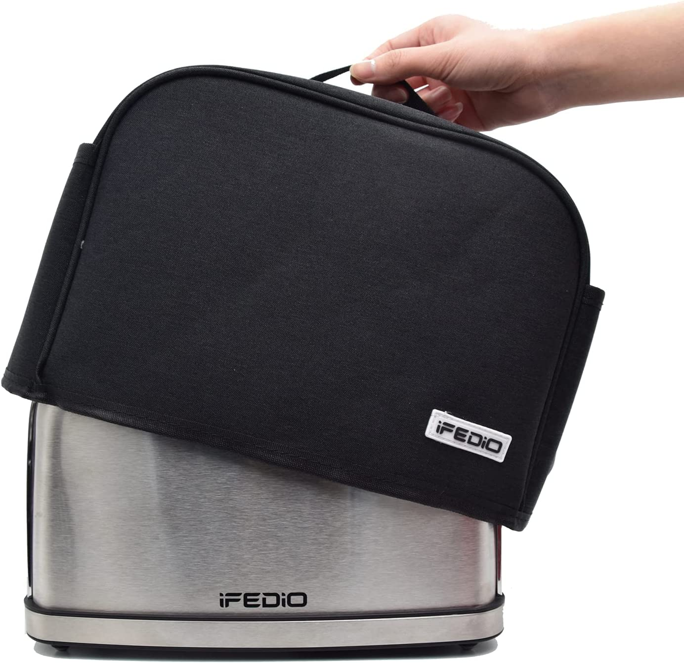 iFedio 2 Slice Toaster Cover with Pockets, Dust And Fingerprint Protection/Machine Washable/Toaster Machine Cover Can Hold Jam Spreader Knife & Toaster Tongs (Black)