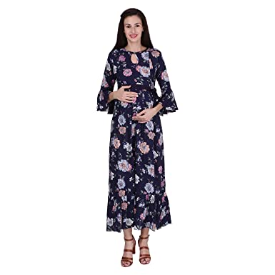 870fc13afc4 VIXENWRAP Dark Black Rayon Floral Print Maternity Gown  Amazon.in ...