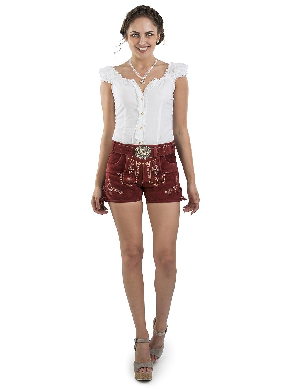 Damen Lederhose Hannah kurz mit Trachtengürtel - Hotpants Trachtenlederhose Dunkelrot Gürtel
