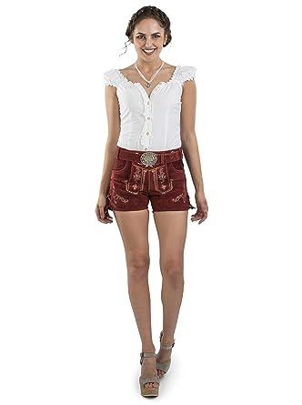 günstigster Preis neueste auswahl klassischer Chic Damen Lederhose Hannah kurz mit Trachtengürtel - Hotpants Trachtenlederhose  Dunkelrot Gürtel