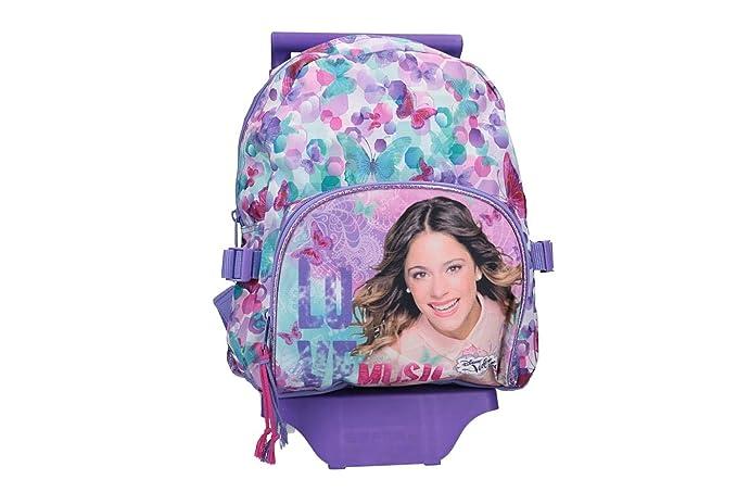 Mochila niña DISNEY VIOLETTA bolsa de ocio escolar violeta con la carretilla VZ822: Amazon.es: Ropa y accesorios