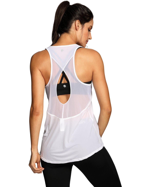 CRZ YOGA Women's Sleeveless T-Shirt Loose Fit Mesh Racerback Workout Tank Top