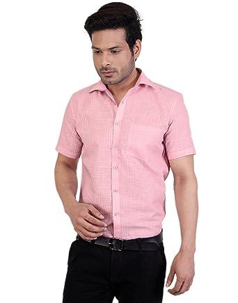 Zeal Men's Checkered Regular Fit Formal Half Sleeve Light Pink ...