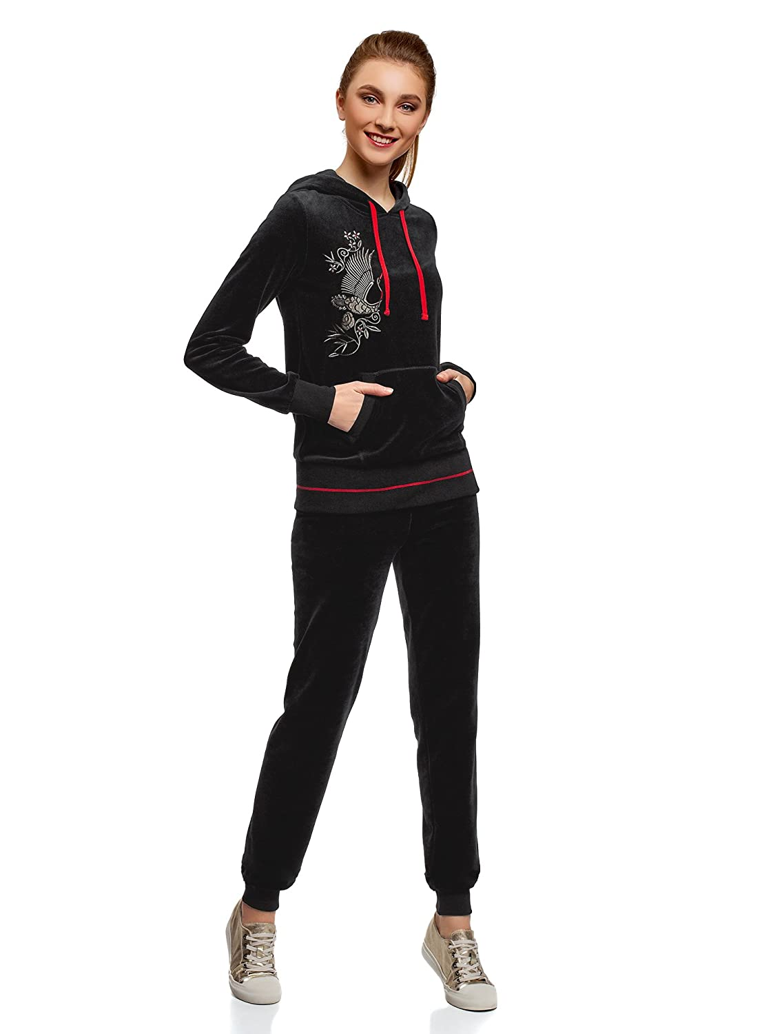 oodji Ultra Womens Velour Active Pants with Drawstrings
