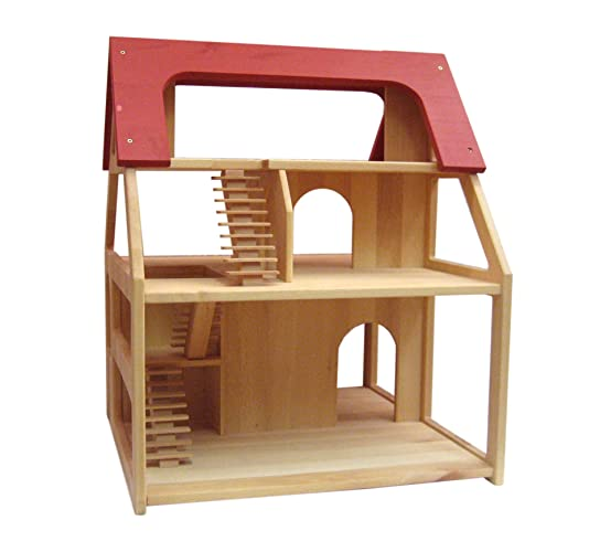 Amazon Com Wooden Dollhouse With A Red Roof Made Of Pure Solid