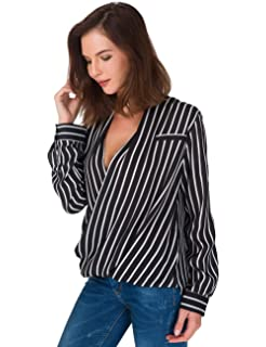b8e5681579e Eliacher Women s Casual Striped Chiffon Blouses Loose Wrap Front Surplice Long  Sleeves Shirt