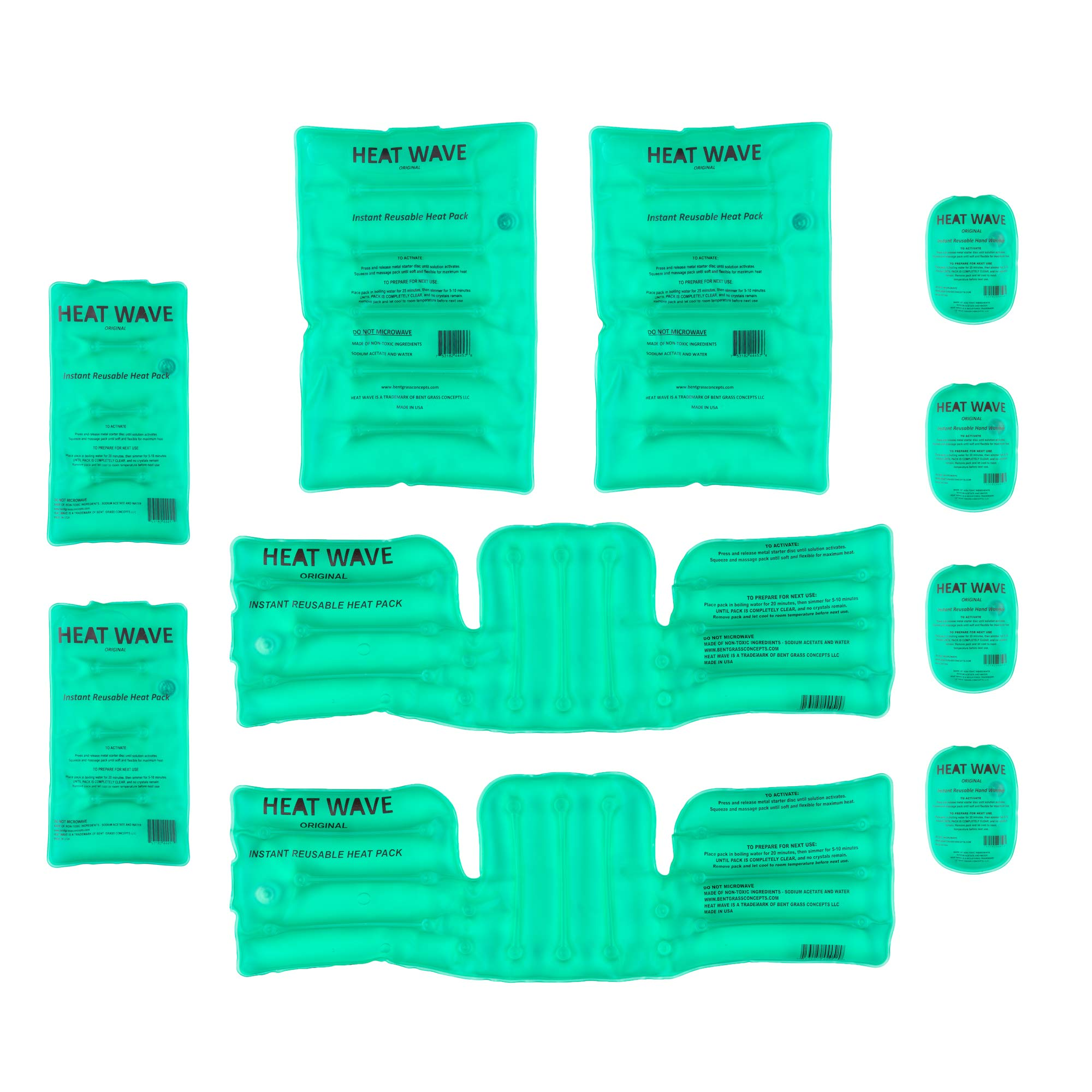 Instant Reusable Heat Packs - Bundle 4: 2 Pair (4) Hand Warmers and 2 Medium, 2 Large, and 2 Universal Neck/Shoulder/Back- Premium Quality - Medical Grade - Made in USA Heat Wave