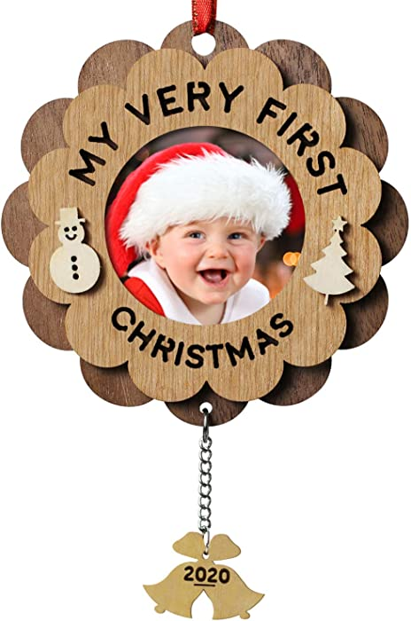 Creawoo Nature Wood My Very First Christmas Ornaments Picture Frame Christmas Photo Frame Baby First Xmas Keepsake Ornament with Gift Box