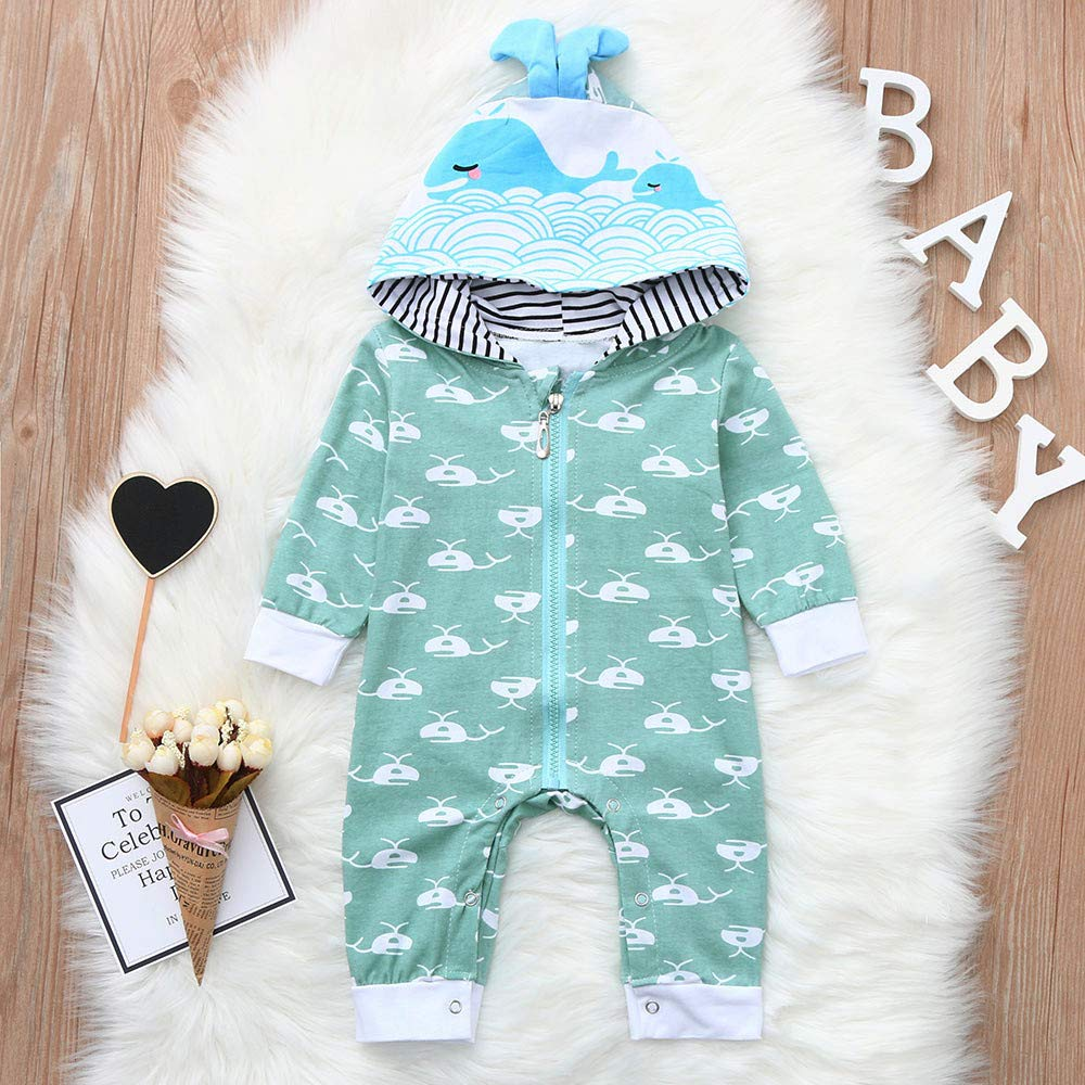Waymine Infant Boys Girls Cartoon Long Sleeve Whale Print Hoodie Romper Jumpsuit