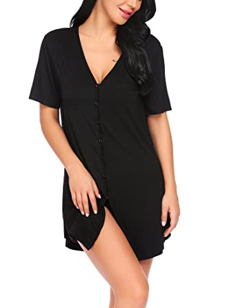 de58f6091ca4 Avidlove Women Button Down Nightgown Sexy Sleepwear Short Sleeve Boyfriend  Nightshirt Pajama Dress Black