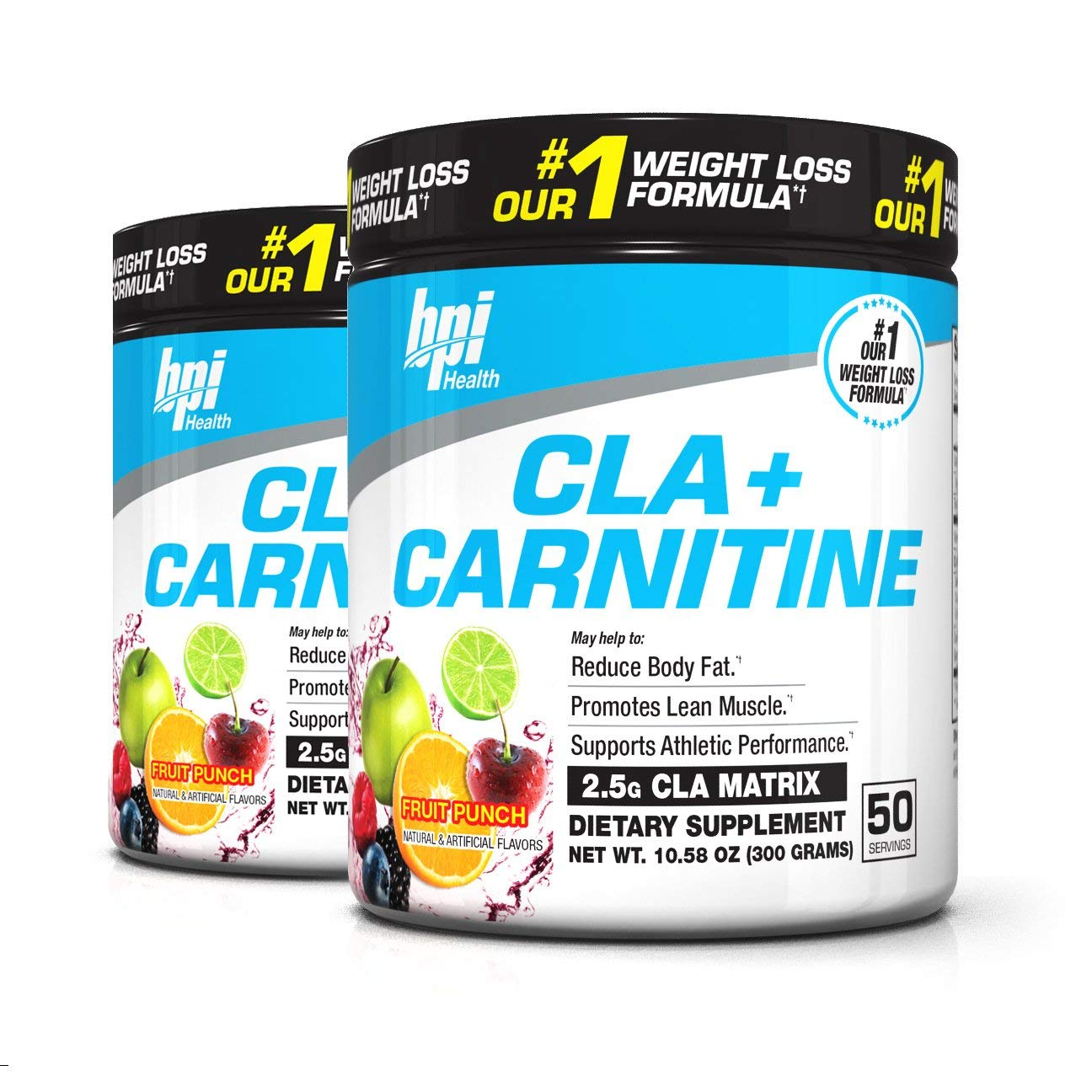 BPI Sports Cla + Carnitine Non-Stimulant Weight Loss Supplement Powder, 300 Gram, 50 Servings (2 Pack) (Fruit Punch)