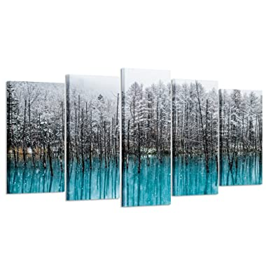 Kreative Arts - 5pcs Blue Forest Canvas Wall Art Paintings Winter Landscapes of Black Trees Snow Picture Prints Artwork for Home and Office Decoration