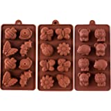 STARUBY Silicone Moulds Non-Stick Chocolate Candy Mould,Soap Moulds,Silicone Baking Mould Making Kit, Set of 3 Forest Theme with Different Shapes Animals,Lovely & Fun for Kids