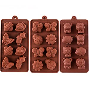 STARUBY Silicone Molds Non-stick Chocolate Candy Mold,Soap Molds,Silicone Baking mold Making Kit, Set of 3 Forest Theme with Different Shapes Animals,Lovely & Fun for Kids