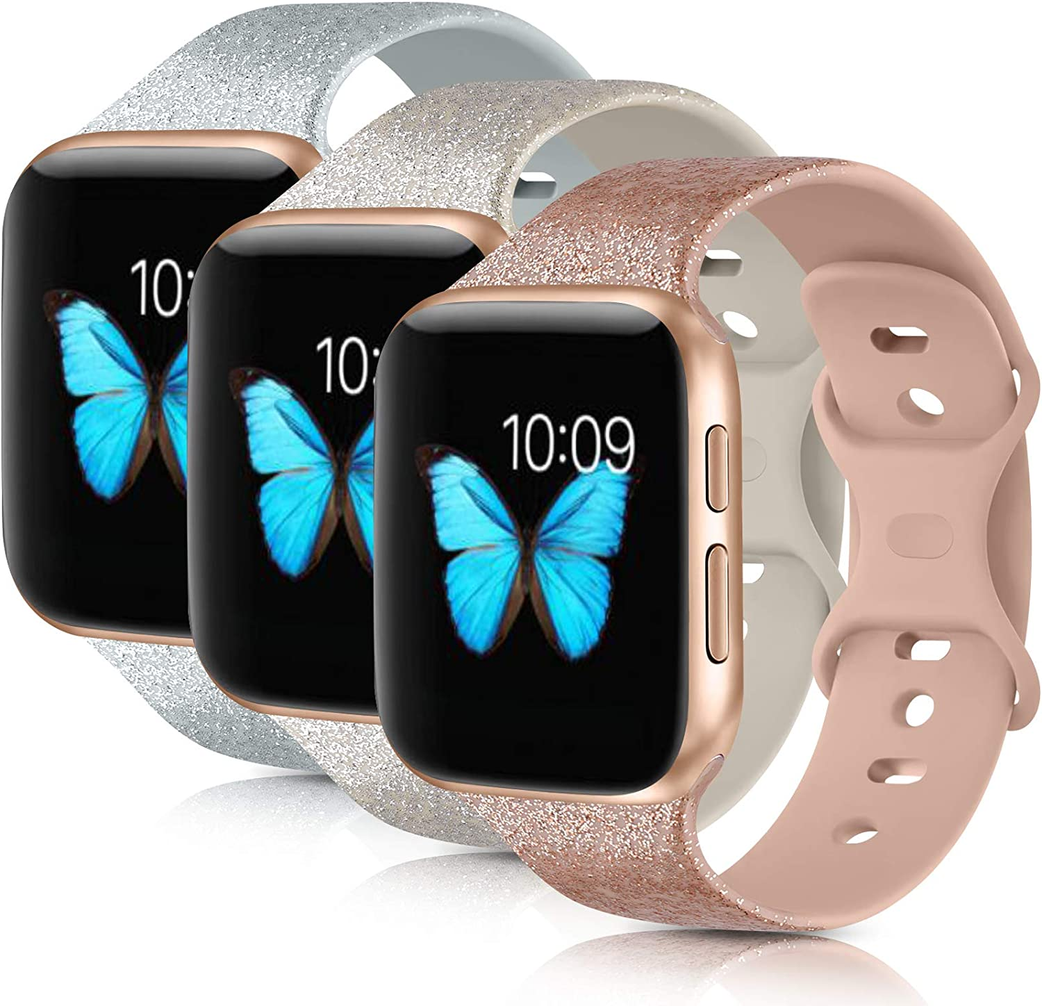 [3 Pack] Compatible with Apple Watch Bands 38mm 40mm 42mm 44mm Series 6 5 4 3 2 1 SE (.Khaki Glitter Silver/Oatmeal Glitter Silver/Gray Glitter Silver, 38mm/40mm-S/M)