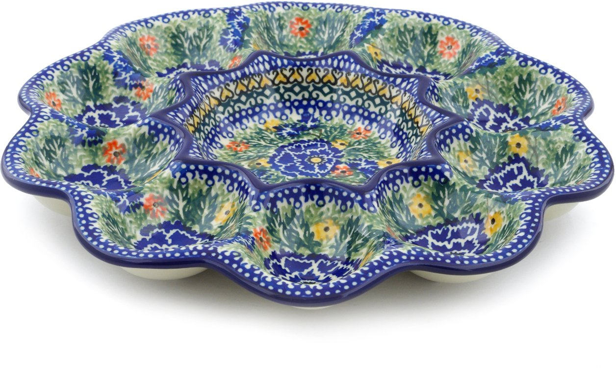 Polish Pottery 11¼-inch Egg Plate made by Ceramika Artystyczna (Dancing Pansies Theme) Signature UNIKAT + Certificate of Authenticity