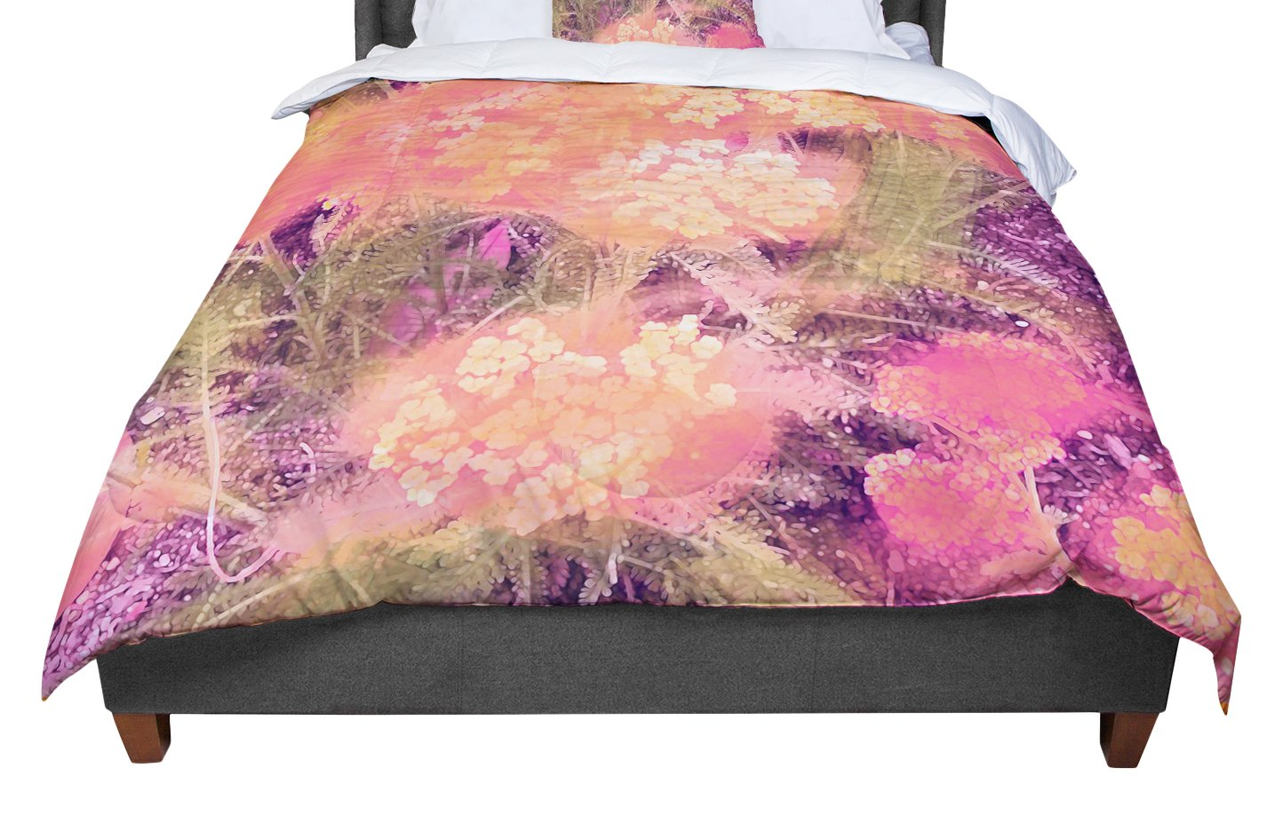 Kess InHouse Nina May Yellow Wildflowers Orange Pink Cotton Queen Duvet Cover 88 x 88