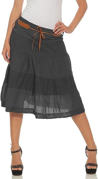 ZARMEXX falda de verano de las mujeres hasta la rodilla falda de ...