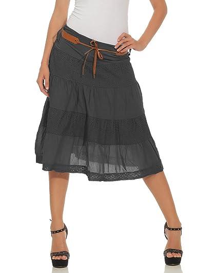 9fe0ff29464023 ZARMEXX Femmes jupe mi-longue coton jupe jupe d'été au genou ...