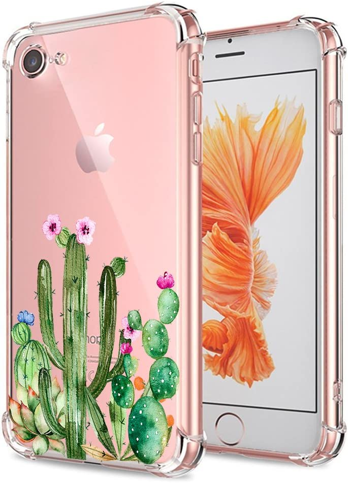 iPhone 7 8 SE 2020 Case, Ultra Crystal Clear Case with Design Cute Cactus Floral Succulent Bumper Shockproof Protective Case for iPhone 7 8 iPhone SE 2020 Flexible Cover Silicone Shock Absorption