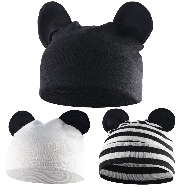 Zando Knitted Cotton Baby Beanies Hat for Boy Lovely Bear Ears Hats Stretchy Soft Plain Warm Kids Infant Skull Caps 3 Pack Black White Black Stripes