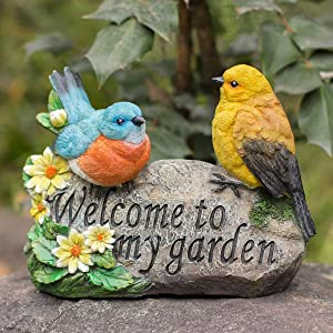Bird Garden Decor, Welcome Sign Sculptures Statues for Yard Patio Lawn Funny Fairy Ornaments Outside Figurine Home Decorations
