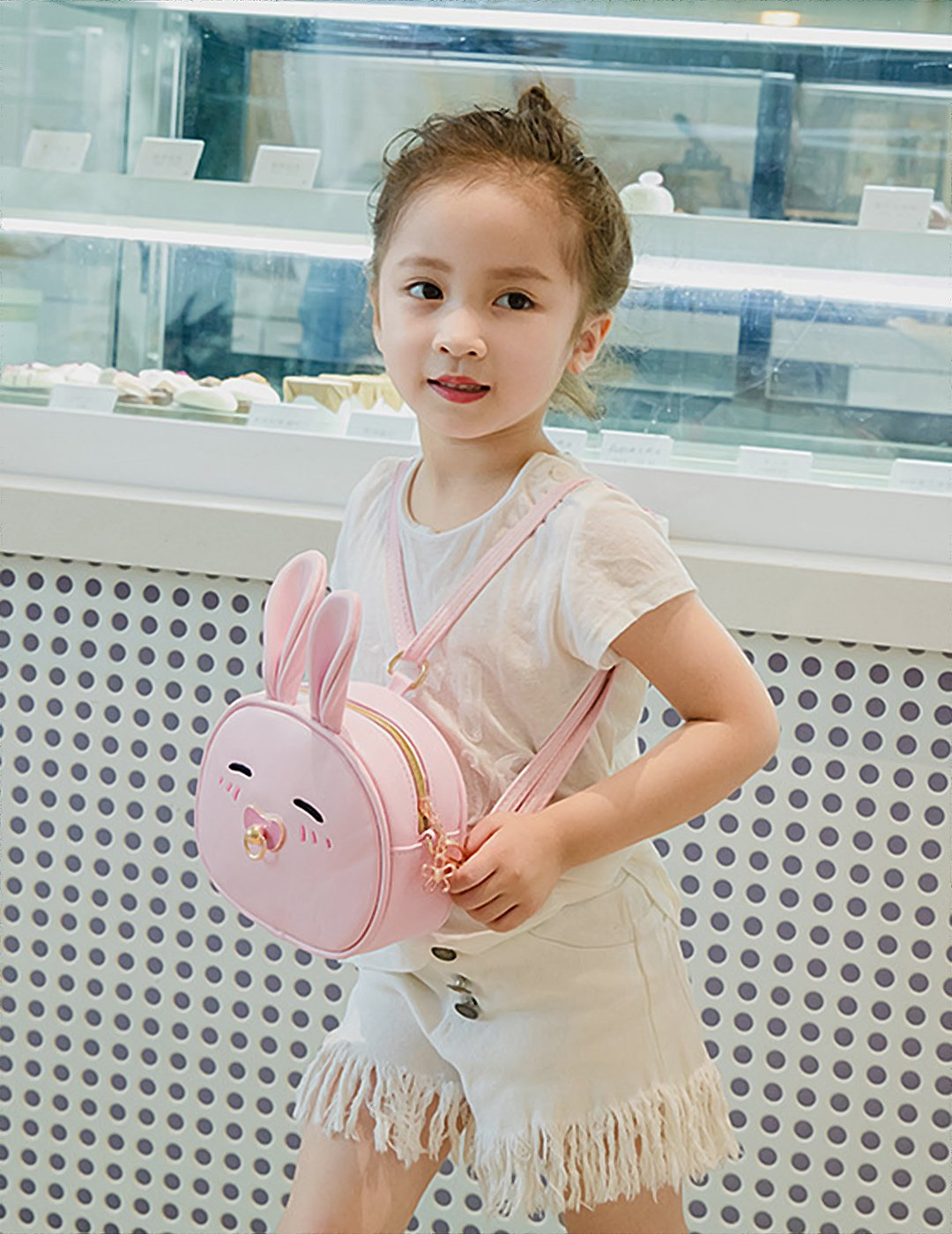 CMK Trendy Kids My First Purse for Toddler Kids Girls Cute Shoulder Bag Messenger Bags with Bunny Ear and Double Slide Zipper Novelty Birthday Gift (82011_Pink) by CMK Trendy Kids (Image #3)