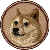 """Shibe' (Doge) Dog Face Patrol Patch - 2"""" Diameter Round Embroidered Patch"""