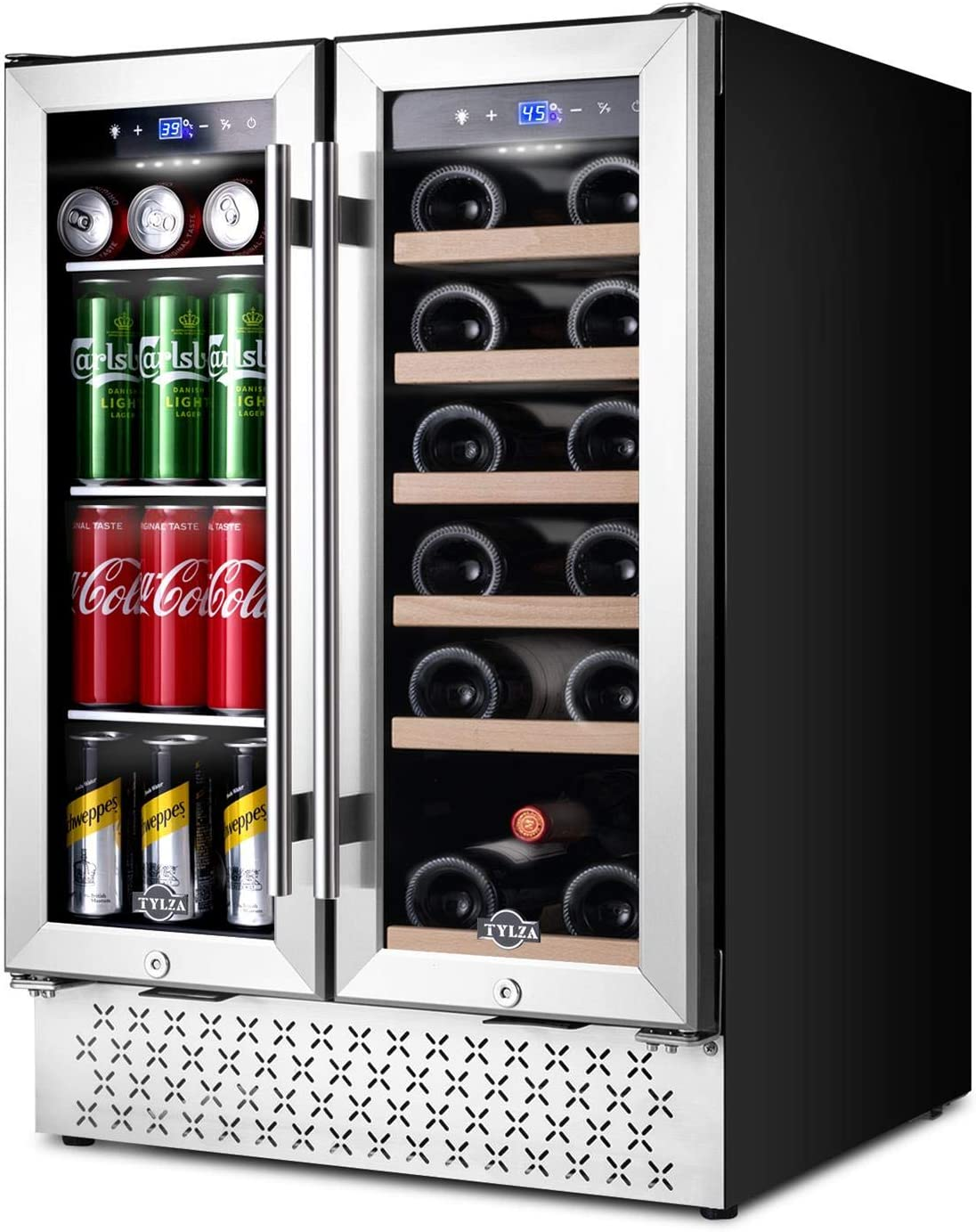 Beverage and Wine Cooler 24 Inch, Dual Zone Wine Beverage Refrigerator with Memory Temperature Control, Quick Cooling Wine Beer Mini Fridge, Built-in or Freestanding, Quiet Operation, Hold 18 Bottles and 57 Cans