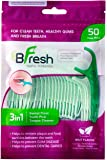 BFresh Flossers 3 in 1 Mint Flavoured Dental Floss Picks with Tongue Cleaner for Fresh Breath and Healthy Gums (Apple Green)- 50 Pieces