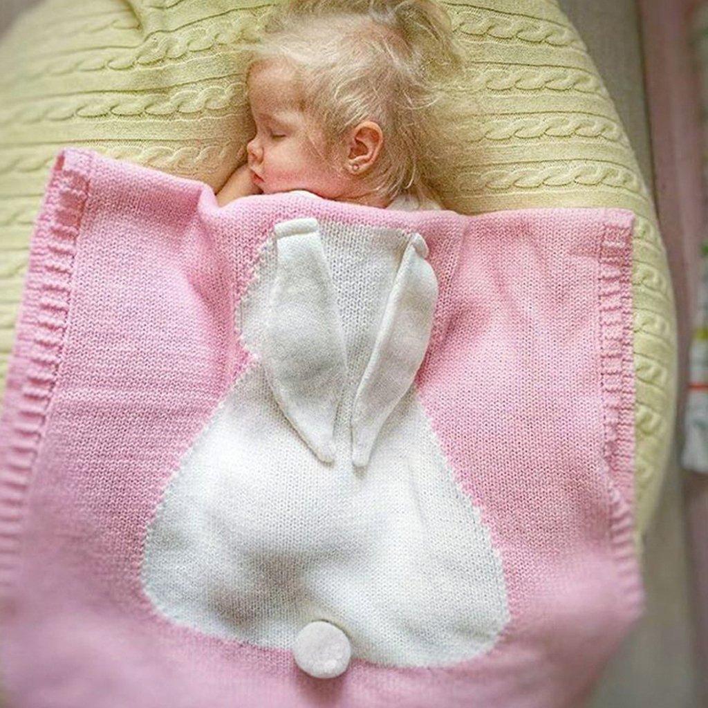 sharplace recién nacido bebé Crochet de Punto Infantil Swaddle Manta Cochecito strollar mantas colcha azul: Amazon.es: Bebé