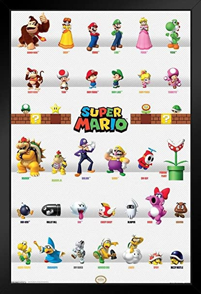 Pyramid America Super Mario Characters Framed Poster 14x20 Inch