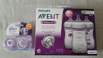 Philips AVENT chupetes Botellas Naturales y elefantes Bundle