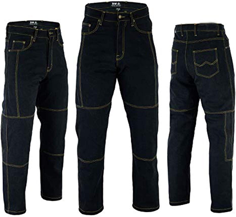 Men/'s Motorbike Motorcycle Biker Fashion Full Black Kevlar Aramid Safety Protective Lining Padded Jean Pant Trouser /& Free padding Full Black, W34 - L32