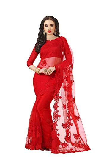 Darshita International Women S Net Saree Rednet Red Amazon In