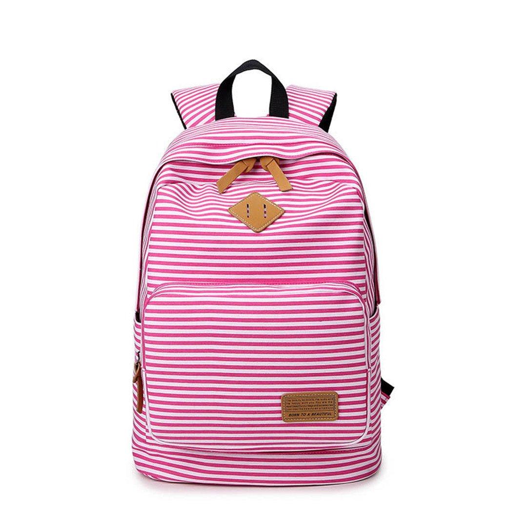 c57cbb3204d2 Amazon.com  Feminine Striped Women Canvas Backpack Teenage Backpacks For Teen  Girls Teenagers Bagpack Youth Female Mochila Feminina black  Clothing