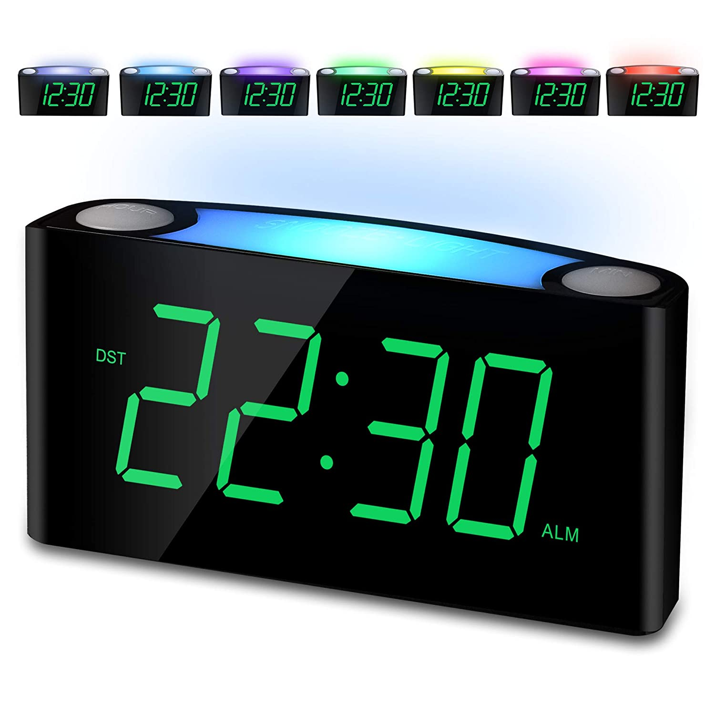 "Alarm Clock, Large 7"" Digital LED Display, 7 Colored Night Light, Slider Dimmer, 2 USB Charging Ports, Big Snooze, 12H/24H, Loud Bedroom Alarm Clock for Heavy Sleeper, Home Office Desk Kitchen Travel"