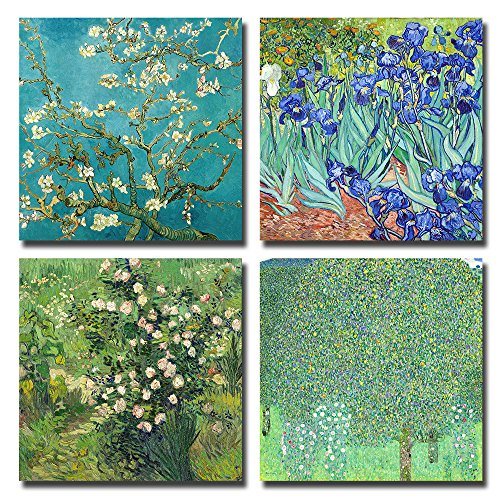(Spirit Up Art 4Pcs/Sets Huge Modern Wall Art Home Decor Giclee Prints Framed Artwork Almond Blossom and Irises by Vincent Van Gogh Oil Paintings Reproduction Pictures Photo Paintings Print on Canvas)